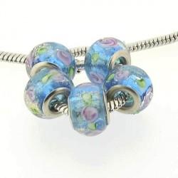 Perle de verre turquoise fleurie paillettée d'or style Pandora - à l'unité