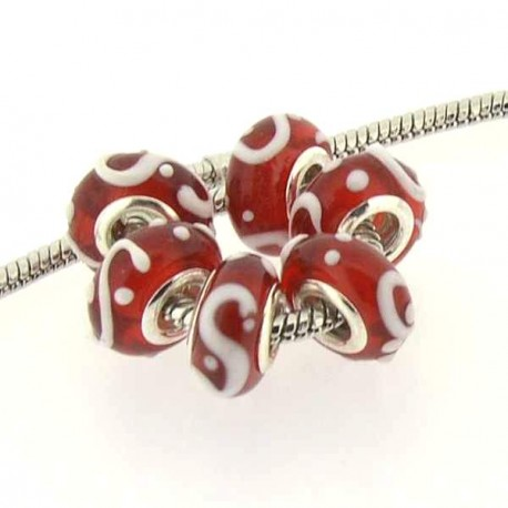 Perle de verre rouge guirlande blanche en relief style Pandora - à l'unité