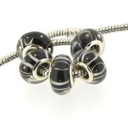 Perle de verre noire marrons lignes blanches style Pandora - à l'unité