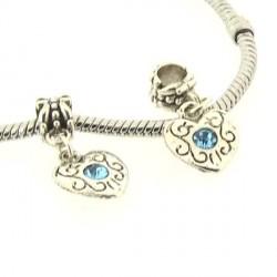 Charm Médaillon Coeur strass turquoise style Pandora - à l'unité