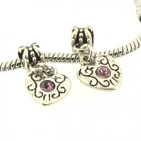 Charm Médaillon Coeur strass rose style Pandora - à l'unité