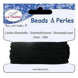 Carte 10 m Cordon noir en coton pour Shamballa, 1 mm ø