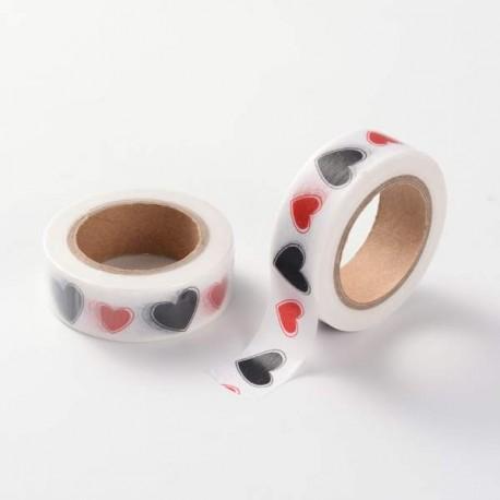 Masking Tape Coeurs rouges et noirs - 15 mm x 10 m