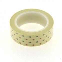 Masking Tape Pois verts et rouges - 15 mm x 10 m