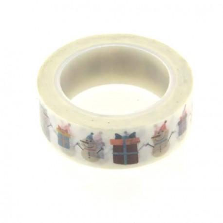 Masking Tape Cadeaux et Bonhomme de neige - 15 mm x 10 m