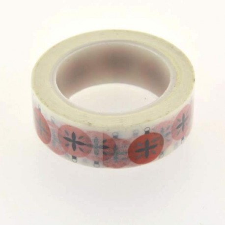 Masking Tape Boules rouges - 15 mm x 10 m