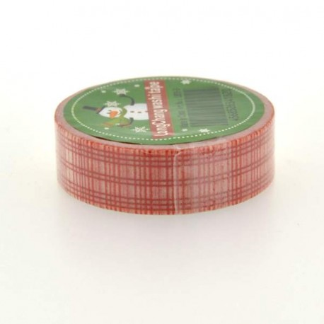 Masking Tape Quadrillage rouge - 15 mm x 10 m