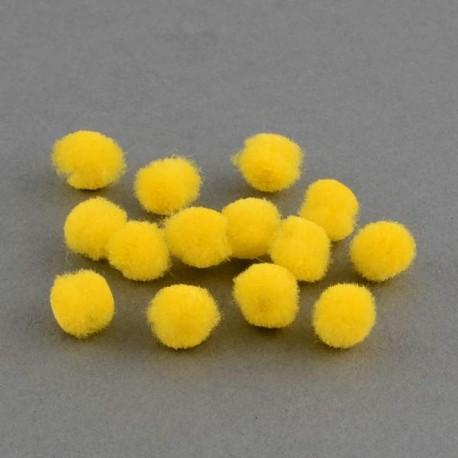 Pompons 15 mm jaunes, 10 pièces