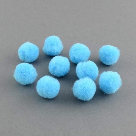 Pompons 15 mm bleus, 10 pièces