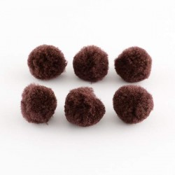 Pompons 10 mm marrons, 10 pièces