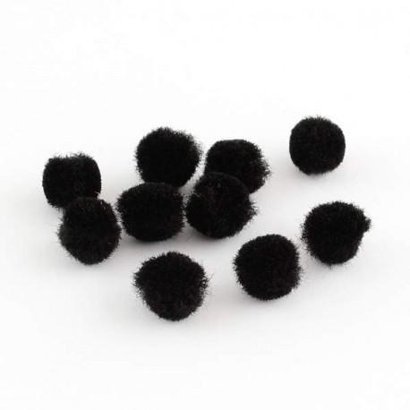 Pompons 12 mm noirs, 10 pièces
