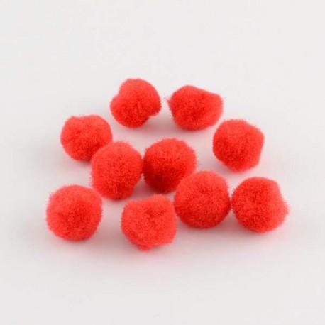 Pompons 12 mm rouges, 10 pièces