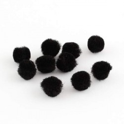 Pompons 25 mm noirs, 10 pièces