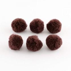 Pompons 30 mm marrons, 10 pièces