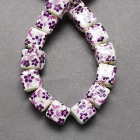 Perle de verre porcelaine carrée violette, 10 mm