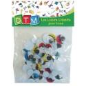 40 Yeux mobiles avec cils colorés