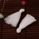 Pendentif Pompon en coton, blanc 3 cm