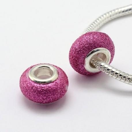 Perle de verre rose fuchsia pailletté style Pandora - à l'unité