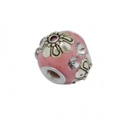 Perle kashmiri rose, ronde 14 mm - à l'unité