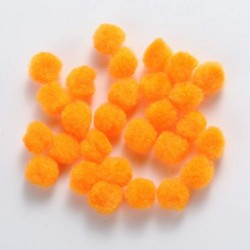 Pompons 10 mm oranges, 10 pièces