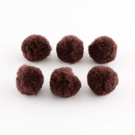 Pompons 15 mm marrons, 10 pièces