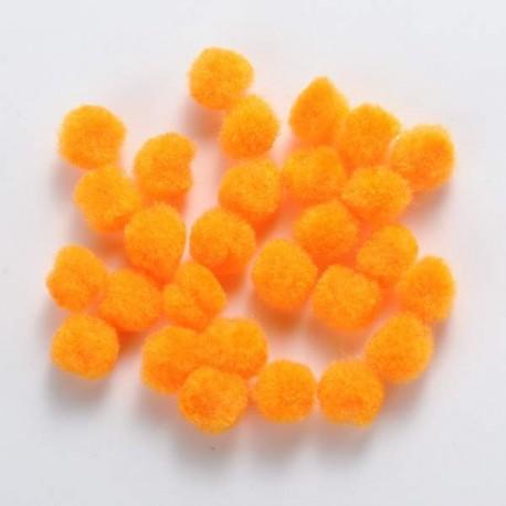 Pompons 12 mm oranges, 10 pièces