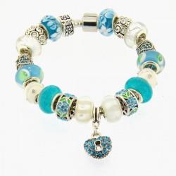 Bracelet style pandora Turquoise et Blanc