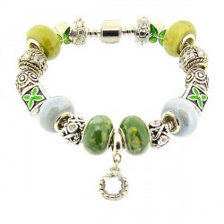 Bracelet style pandora Vert au Médaillon