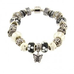 Bracelet style pandora Noir et Blanc