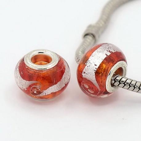 Perle de verre rouge/argent style Pandora - à l'unité