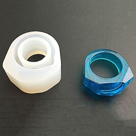 Moule silicone pour résine Bague hexagone 30 mm