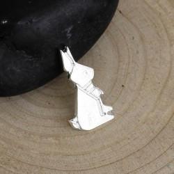Pendentif breloque en métal Origami Lapin