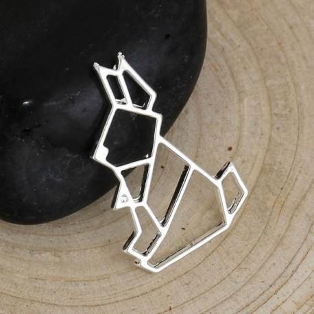 Pendentif breloque en métal Origami ajouré Lapin