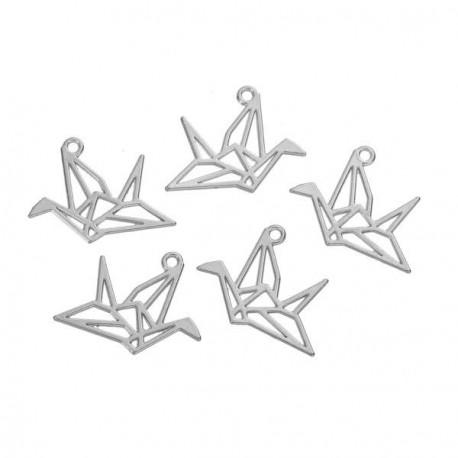 Pendentif breloque en métal Origami ajouré Oiseau
