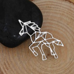 Pendentif breloque en métal Origami ajouré Licorne