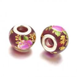 Perle de verre rouge chinoise fleurs peintes style Pandora - à l'unité