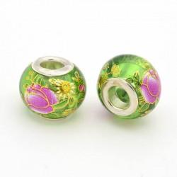 Perle de verre verte chinoise fleurs peintes style Pandora - à l'unité