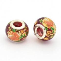 Perle de verre rouge grenat chinoise fleurs oranges peintes style Pandora - à l'unité