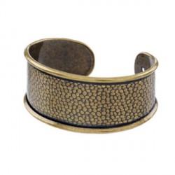 Bracelet manchette avec rebord 18 cm, largeur 3,1 cm, bronze antique