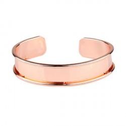 Bracelet manchette avec rebord 18 cm, largeur 1,5 cm, or orsé