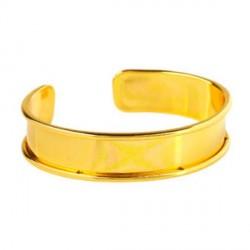 Bracelet manchette avec rebord 18 cm, largeur 1,5 cm, doré