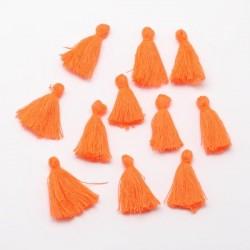 Pendentif Pompon en coton, orange 3 cm