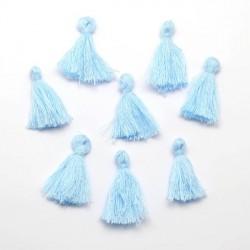 Pendentif Pompon en coton, bleu ciel 3 cm