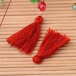 Pendentif Pompon en coton, rouge 3 cm