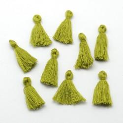 Pendentif Pompon en coton, vert anis 3 cm