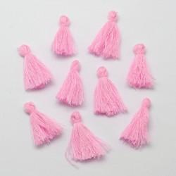 Pendentif Pompon en coton, rose 3 cm