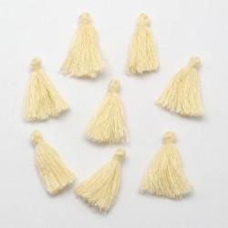 Pendentif Pompon en coton, beige 3 cm