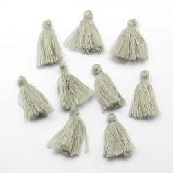 Pendentif Pompon en coton, gris 3 cm
