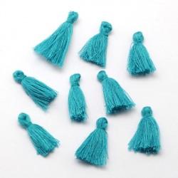 Pendentif Pompon en coton, bleu turquoise 3 cm
