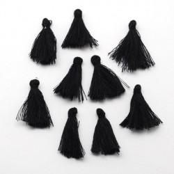 Pendentif Pompon en coton, noir 3 cm